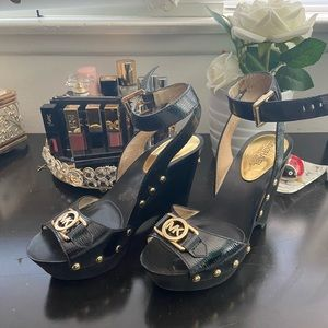 Michael Kors Black studded clog Wedge Sandals